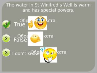 The water in St Winifred's Well is warm and has special powers. True False I