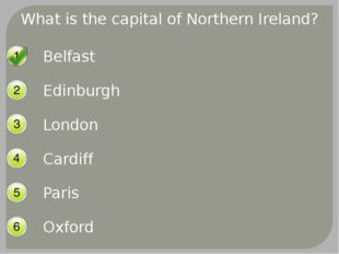What is the capital of Northern Ireland? Belfast Edinburgh London Cardiff Par