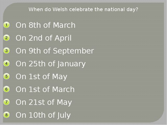 When do Welsh celebrate the national day? On 8th of March On 2nd of April On...