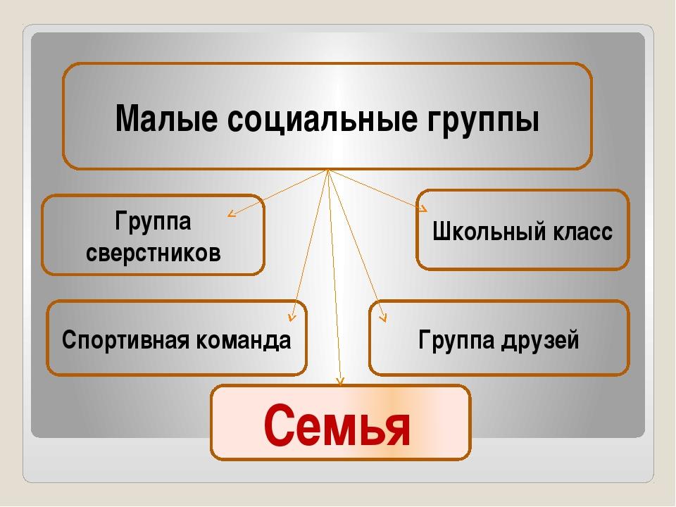 Малые социальные группы Школьный класс Группа сверстников Спортивная команда...