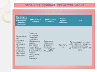 ОРГАНИЗАЦИОННАЯ СТРУКТУРА УРОКА 1. Подготовительная часть (организационный мо