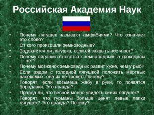 Российская Академия Наук Почему лягушек называют амфибиями? Что означает это