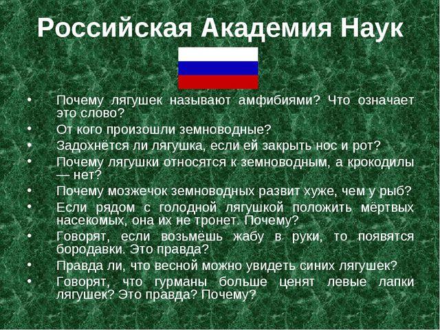 Российская Академия Наук Почему лягушек называют амфибиями? Что означает это...