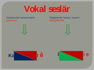 Vokal seslär Göstererlär konsonnarIn çetinniini Göstererlär konso -nnarIn yIM