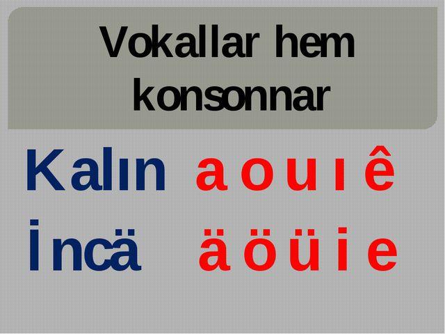 Vokallar hem konsonnar Kalın a o u ı ê İncä ä ö ü i e