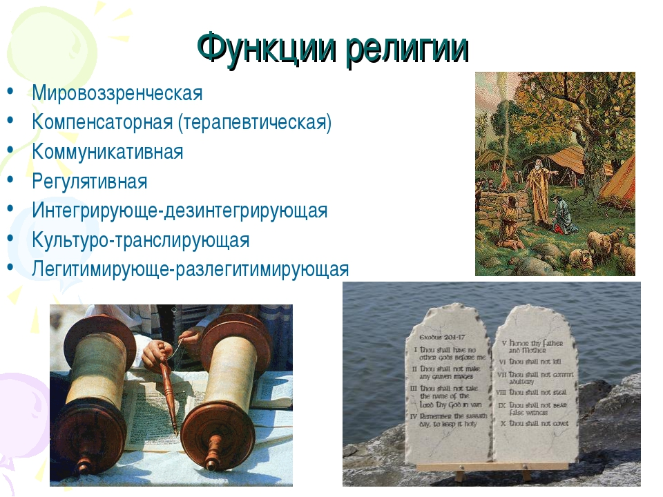Функции религии Мировоззренческая Компенсаторная (терапевтическая) Коммуникат...