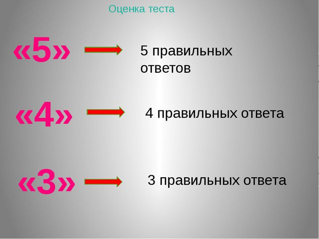 «5» 3 правильных ответа «3» «4» 5 правильных ответов 4 правильных ответа Оцен...