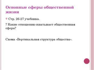 Основные сферы общественной жизни Стр. 26-27 учебника. ? Какие отношения охва