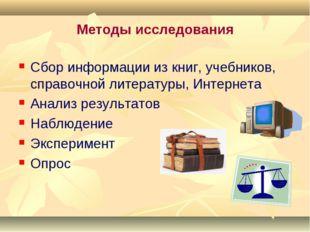 Методы исследования Сбор информации из книг, учебников, справочной литературы