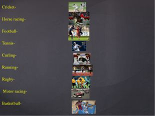 Cricket- Horse racing- Football- Tennis- Curling- Running- Rugby- Motor racin