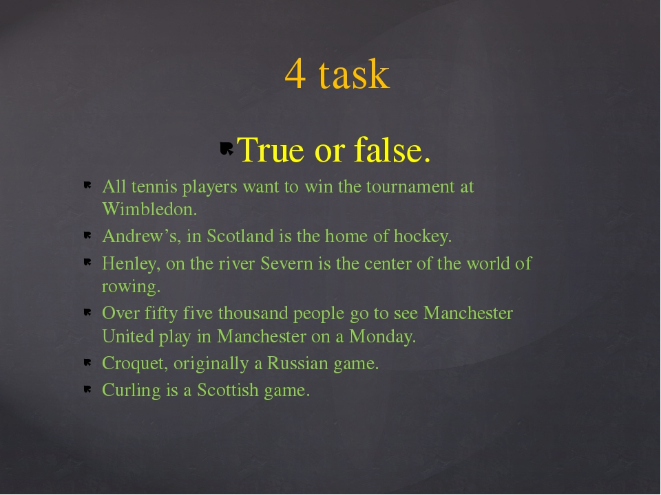True or false. All tennis players want to win the tournament at Wimbledon. An...