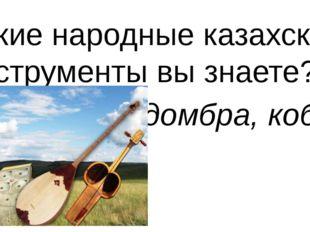 Какие народные казахские инструменты вы знаете? домбра, кобыз