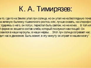 """К. А. Тимирязев: """"Когда-то, где-то на Землю упал луч солнца, но он упал не на"""