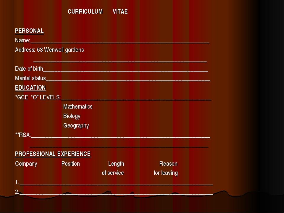 CURRICULUM VITAE PERSONAL Name:_____________________________________________...