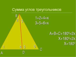 Сумма углов треугольников 1 2 3 4 5 6 1+2+4=x 3+5+6=x A B C D A+B+C+1800=2x X