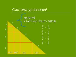 Система уравнений x y z t √1-x2 √4-y2 √9-z2 √16-t2 1 2 3 4 x+y+z+t=6 √ 1-x2 +
