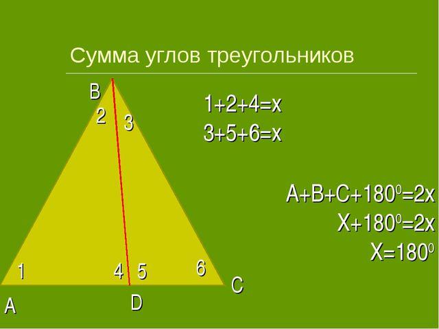 Сумма углов треугольников 1 2 3 4 5 6 1+2+4=x 3+5+6=x A B C D A+B+C+1800=2x X...