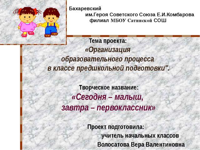 Тема проекта: «Организация образовательного процесса в классе предшкольной по...