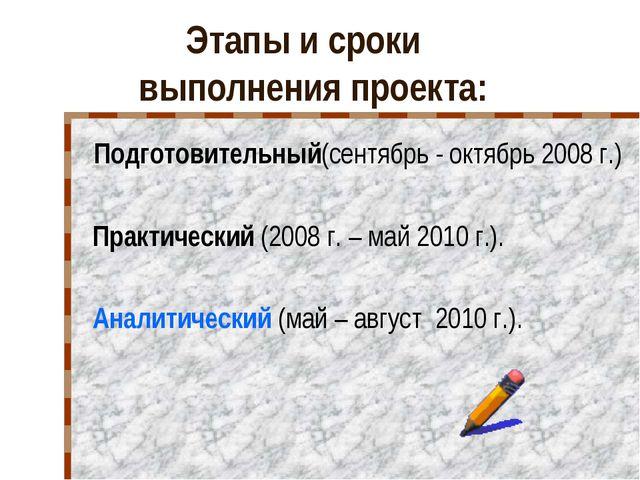 Этапы и сроки выполнения проекта: Подготовительный(сентябрь - октябрь 2008 г....