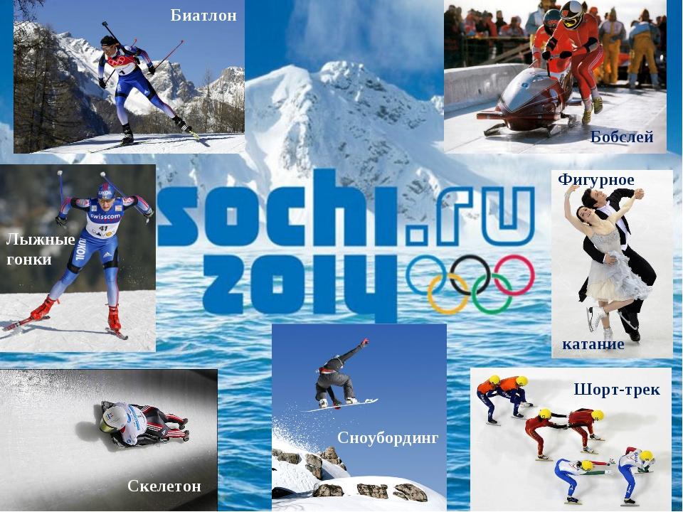 Биатлон Бобслей Лыжные гонки Скелетон Сноубординг Фигурное катание Шорт-трек