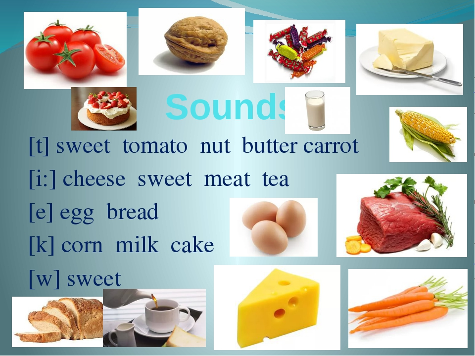 Sounds [t] sweet tomato nut butter carrot [i:] cheese sweet meat tea [e] egg...