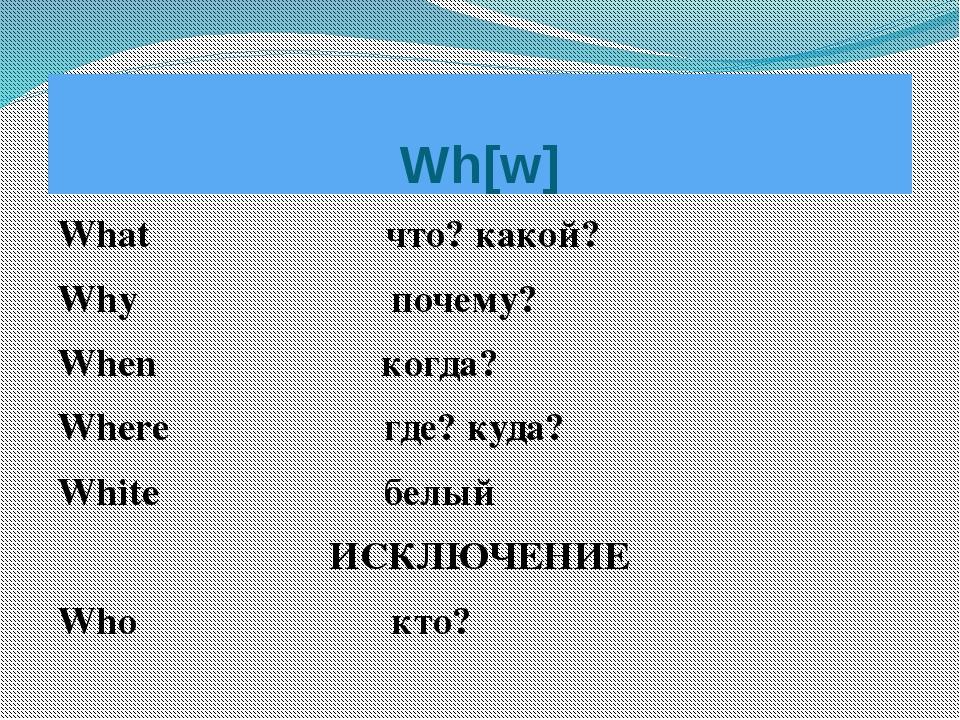 What что? какой? Why почему? When когда? Where где? куда? White белый ИСКЛЮЧЕ...