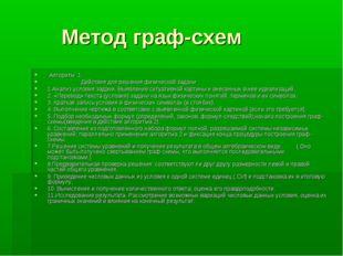Метод граф-схем Алгоритм 1 Действия для решения физической задачи 1.Анализ у
