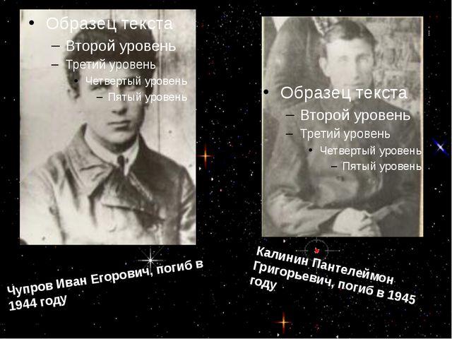 Чупров Иван Егорович, погиб в 1944 году Калинин Пантелеймон Григорьевич, пог...