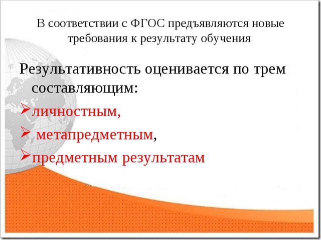 В соответствии с ФГОС предъявляются новые требования к результату обучения Ре...