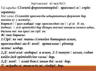 Зертханалық жұмыс№13 Тақырыбы: Сілекей ферменттерінің крахмалға әсерін зертте