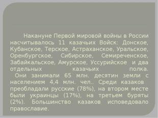 Накануне Первой мировой войны в России насчитывалось 11 казачьих Войск: Донс