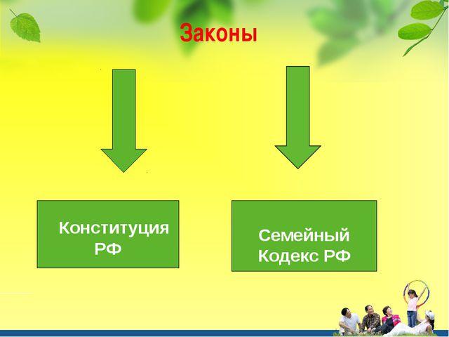 Законы Конституция РФ Семейный Кодекс РФ