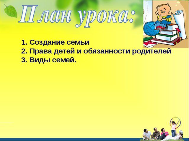 1. Создание семьи 2. Права детей и обязанности родителей 3. Виды семей.