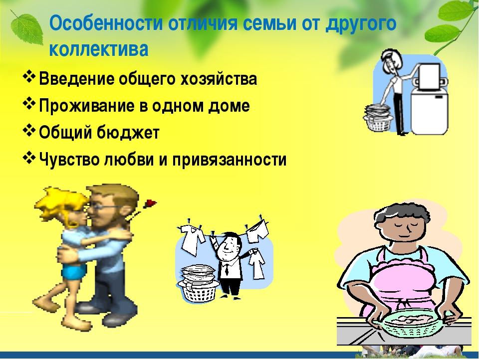 Особенности отличия семьи от другого коллектива Введение общего хозяйства Про...