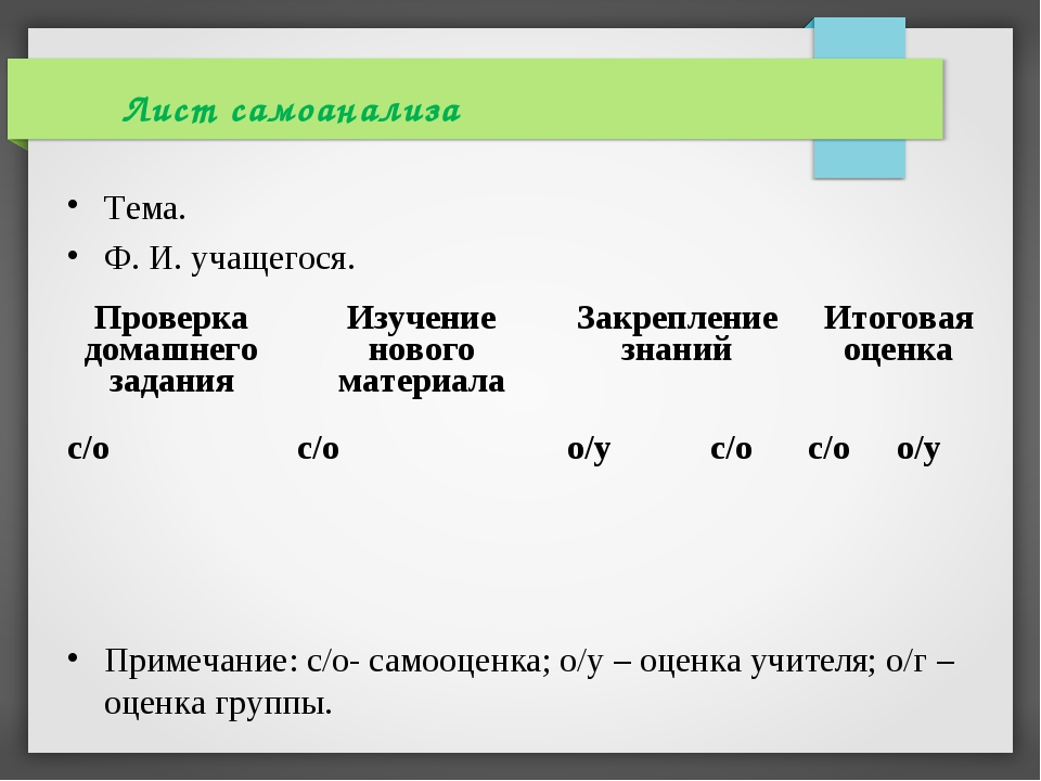Тема. Ф. И. учащегося. Примечание: с/о- самооценка; о/у – оценка учителя; о/г...