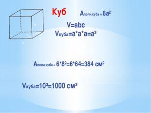 a a a Aполн.куба = 6а² V=abc Vкуба=a*а*а=а³ Задача № 6(а), стр.228 Aполн.куба
