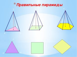 Правильные пирамиды V A B C A B С V V