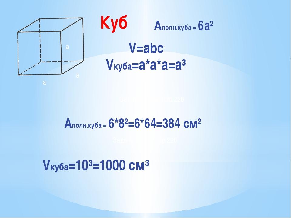 a a a Aполн.куба = 6а² V=abc Vкуба=a*а*а=а³ Задача № 6(а), стр.228 Aполн.куба...