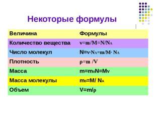 Некоторые формулы Величина Формулы Количество вещества ν=m/М=N/NA Число молек