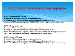 1-ТОП: Отын энергиялық қорлар 1-тапсырма: Оқып шығып, аудармасын орысша айтып