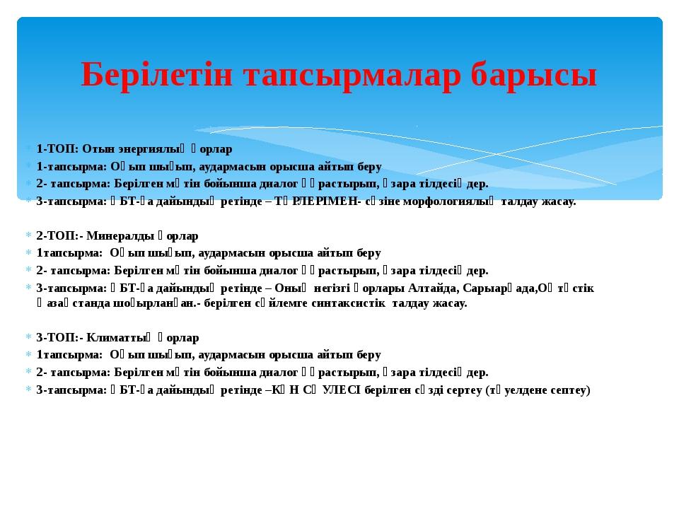 1-ТОП: Отын энергиялық қорлар 1-тапсырма: Оқып шығып, аудармасын орысша айтып...