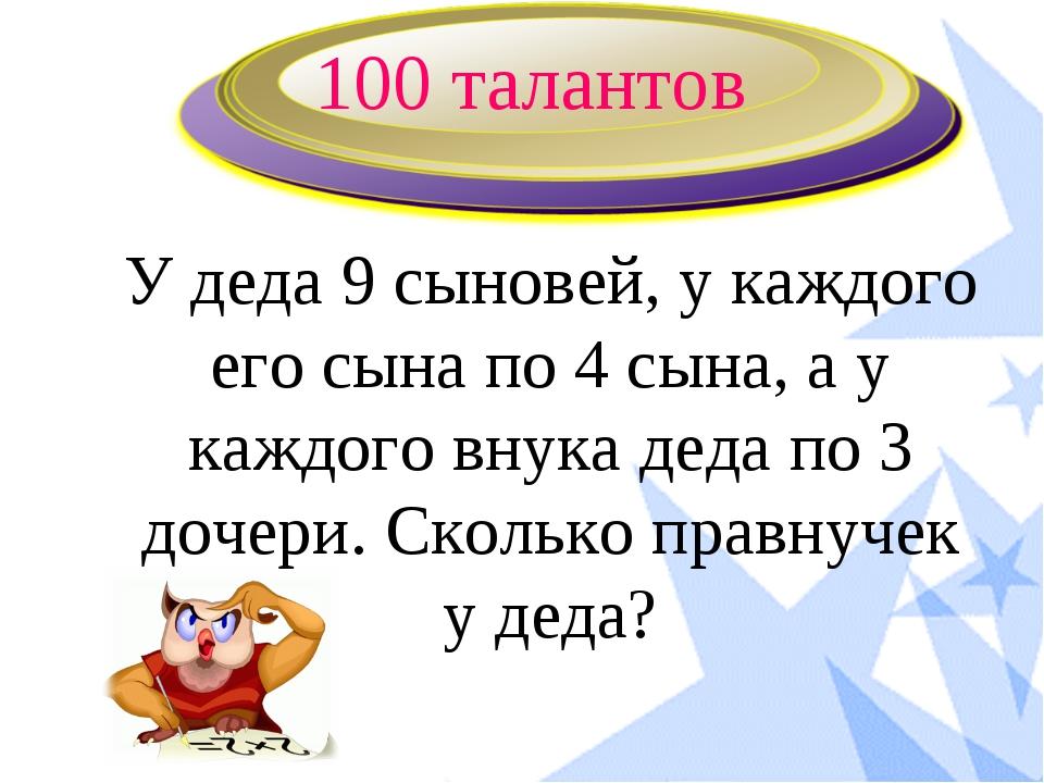 100 талантов У деда 9 сыновей, у каждого его сына по 4 сына, а у каждого внук...