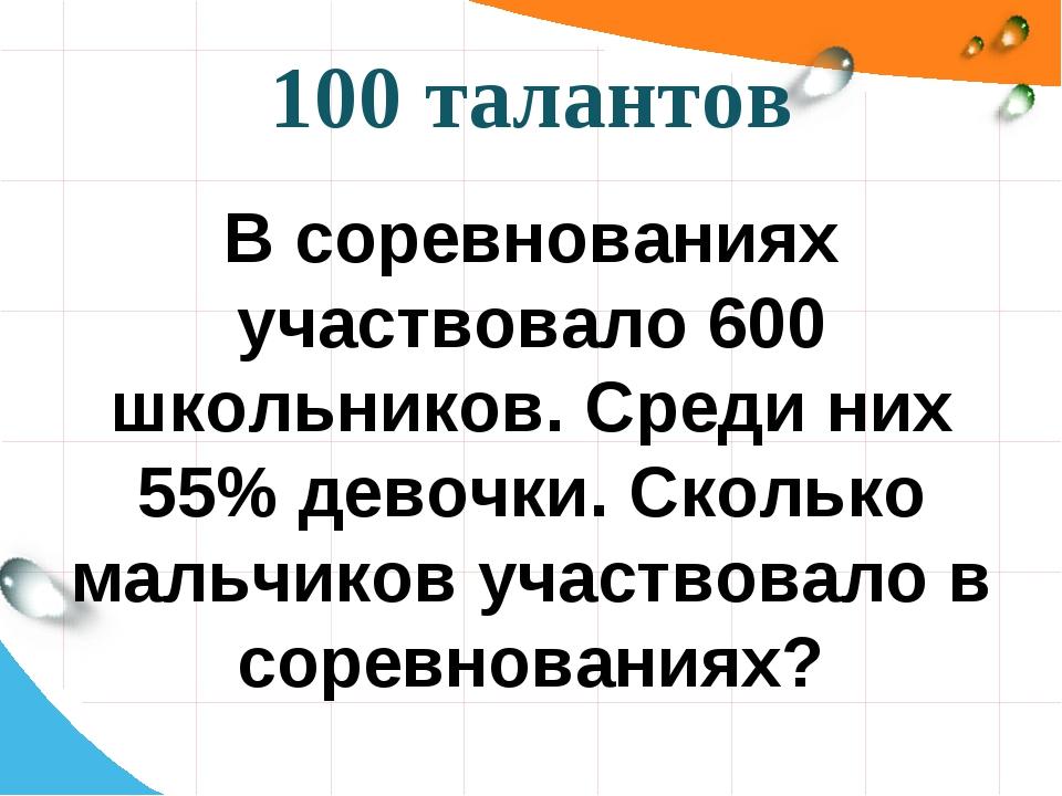100 талантов В соревнованиях участвовало 600 школьников. Среди них 55% девочк...