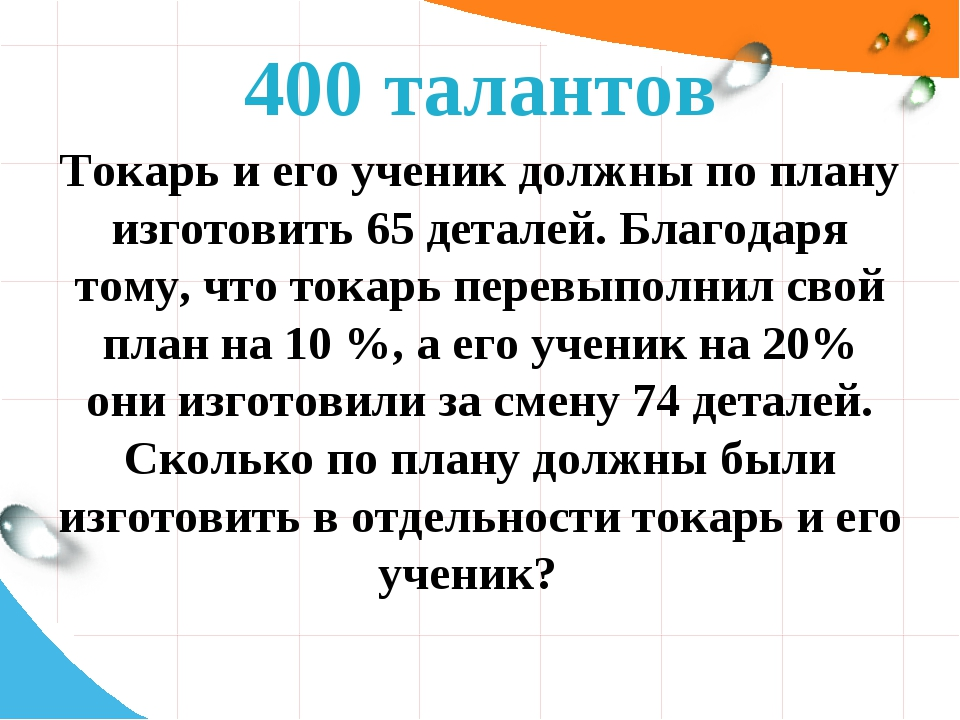 400 талантов Токарь и его ученик должны по плану изготовить 65 деталей. Благо...