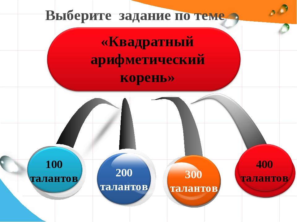 Выберите задание по теме 400 талантов «Квадратный арифметический корень»