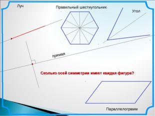 Луч Правильный шестиугольник Параллелограмм Угол Сколько осей симметрии имеет