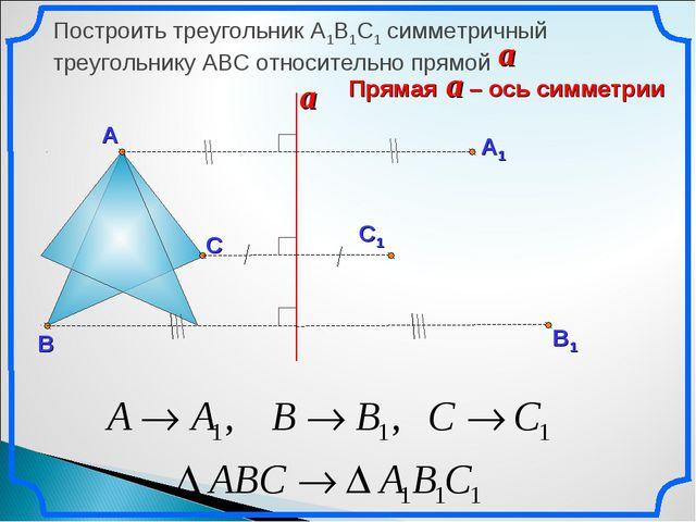 Построить треугольник А1В1С1 симметричный треугольнику АВС относительно прямо...