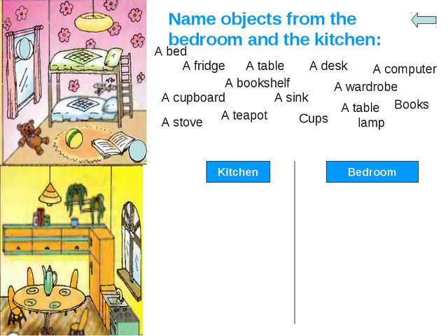 Name objects from the bedroom and the kitchen: A bed A fridge A table A desk...