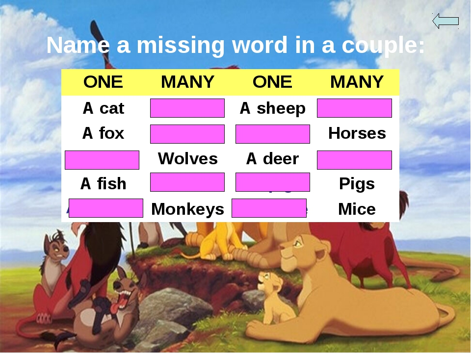 Name a missing word in a couple: ONE	MANY	ONE	MANY A cat	Cats	A sheep	Sheep A...
