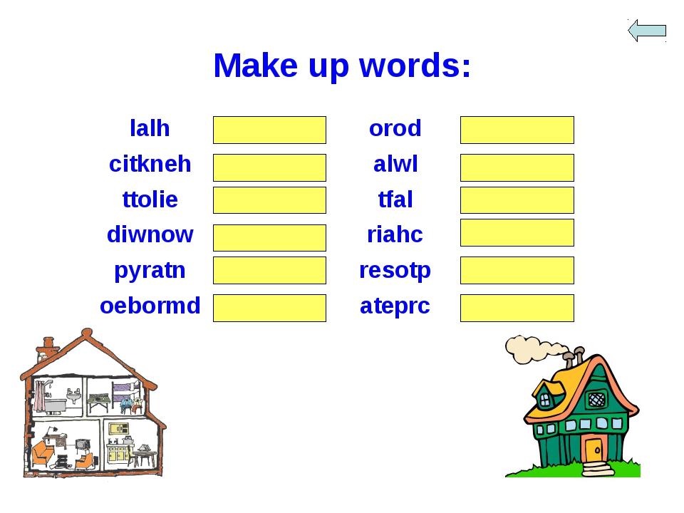 Make up words: lalhhalloroddoor citknehkitchenalwlwall ttolietoilettf...